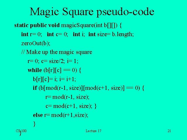 Magic Square pseudo-code