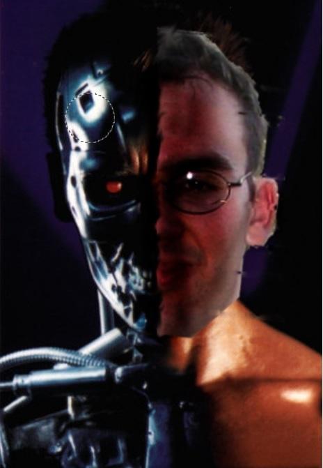 Half man half robot face