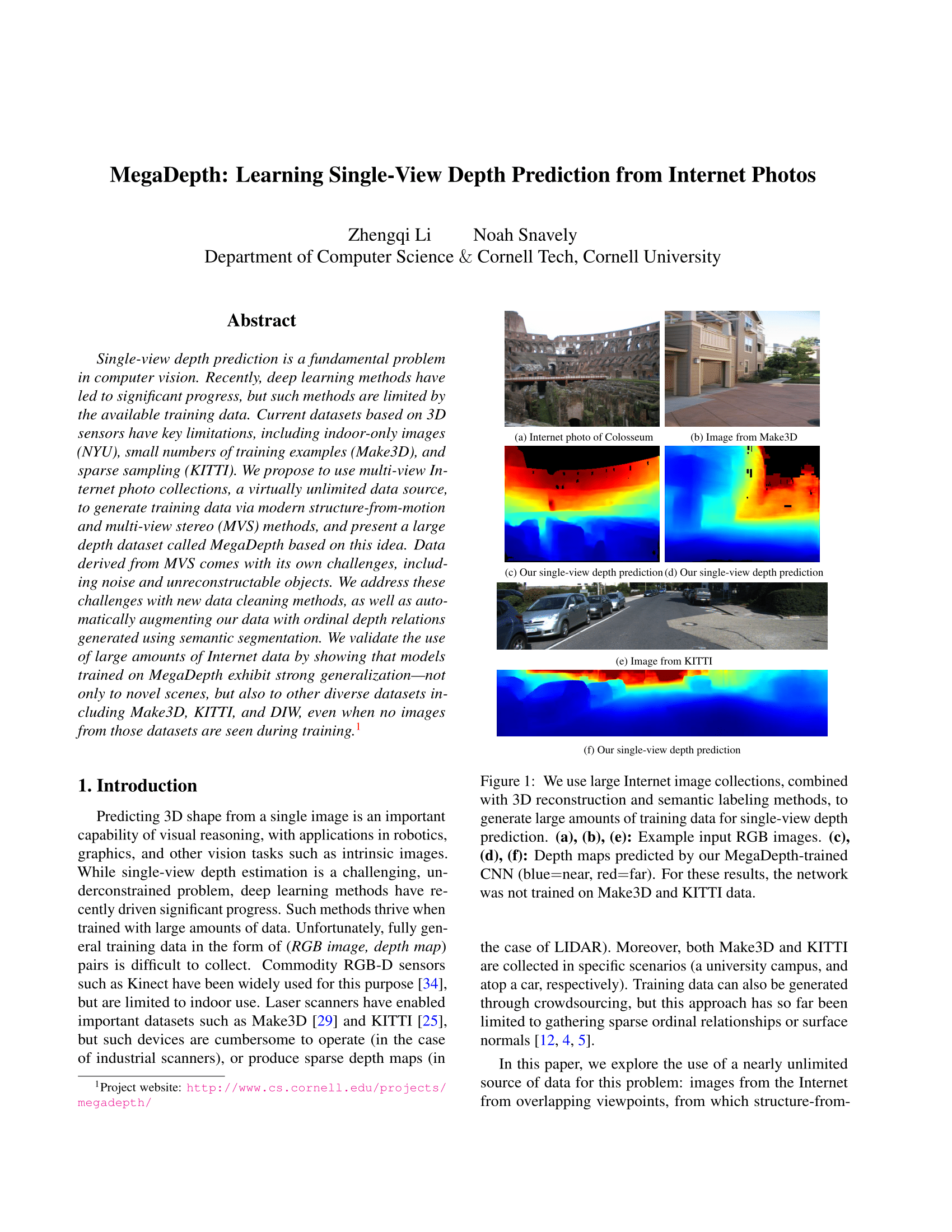MegaDepth: Learning Single-View Depth Prediction from Internet Photos