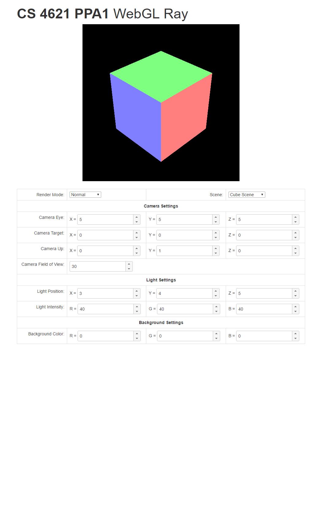 CS 4621: PPA1 -- WebGL Ray