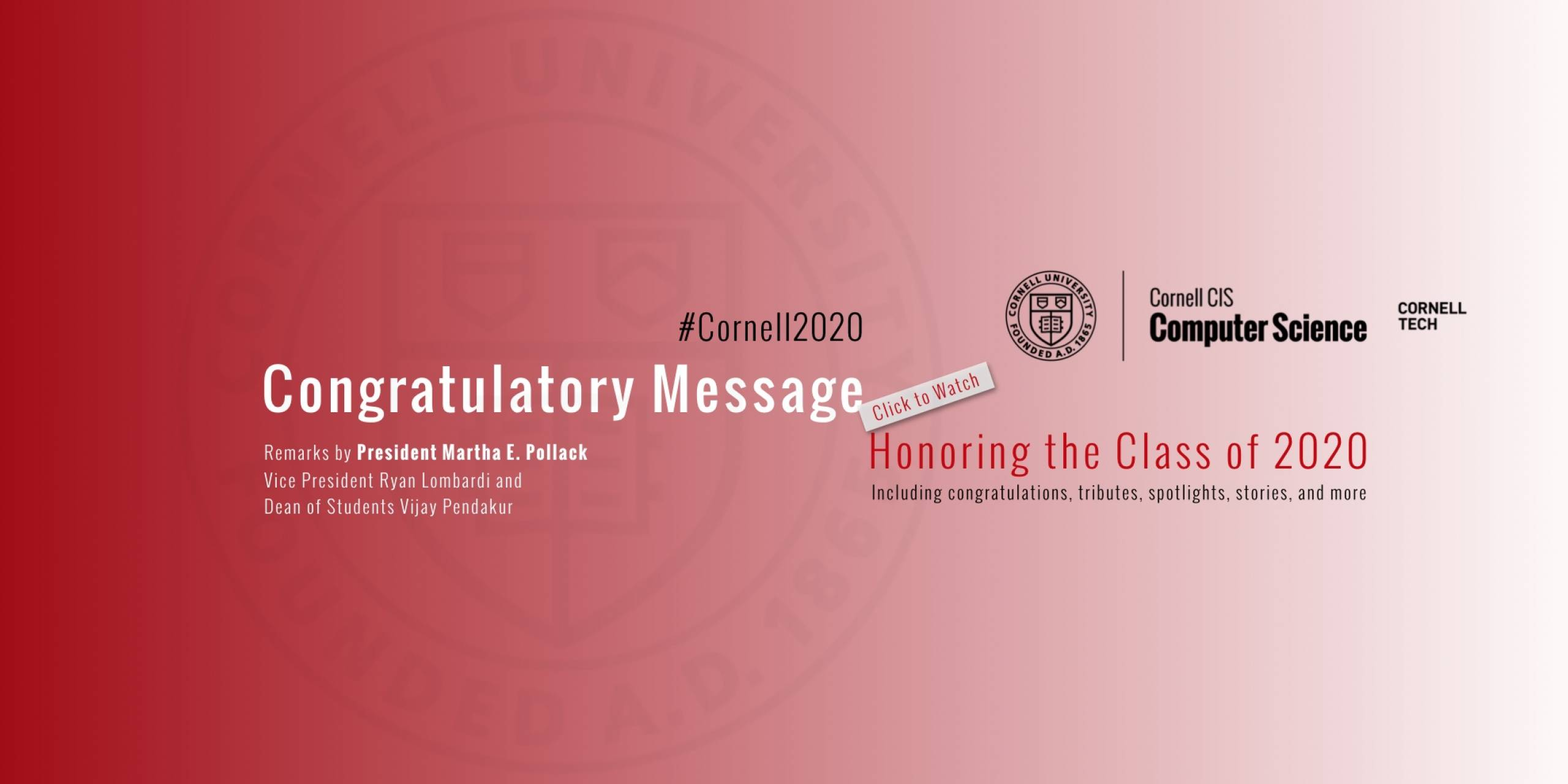 Congratulatory Message, Honoring the Class of 2020