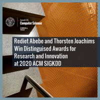 Rediet Abebe and Thorsten Joachims Win Distinguished Awards at 2020 ACM SIGKDD