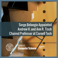 Serge Belongie Appointed  Andrew H. and Ann R. Tisch  Chaired Professor at Cornell Tech