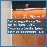 Yunhao Zhang and Lorenzo Alvisi Win Best Paper at USENIX Symposium on Operating Systems Design and Implementation (OSDI)