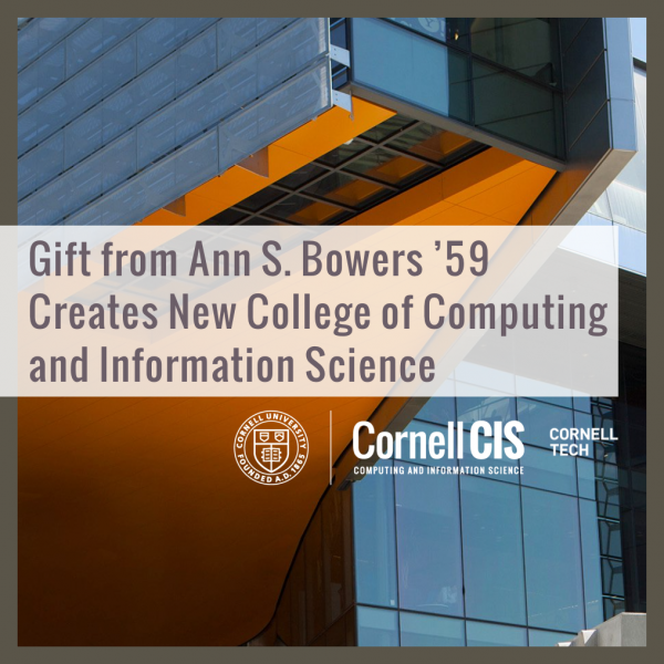 Gift from Ann S. Bowers '59 Creates New College of Computing and Information Science