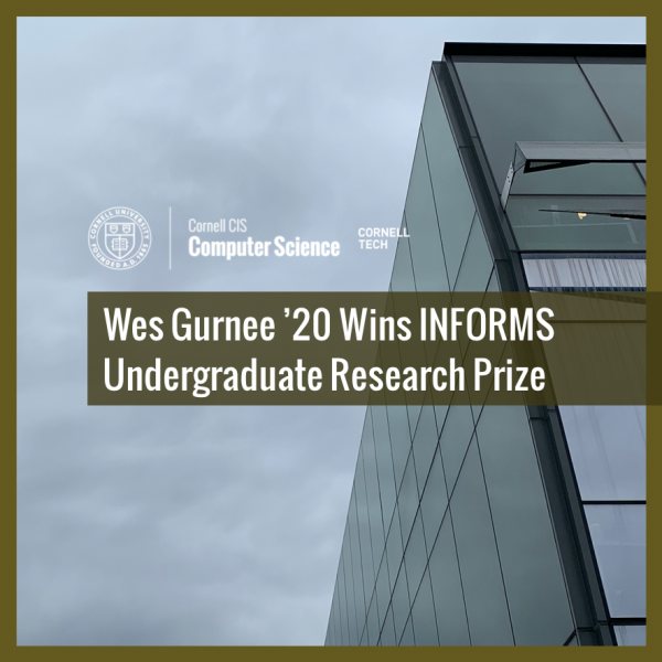 Wes Gurnee '20 Wins INFORMS Undergraduate Research Prize