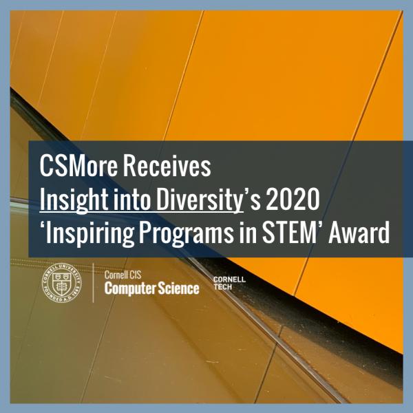 CSMore Receives Insight into Diversity's 2020 'Inspiring Programs in STEM' Award