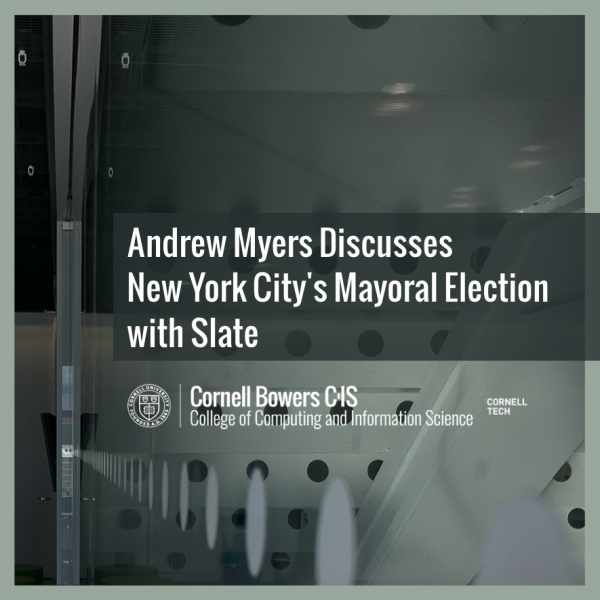 Andrew Myers Discusses New York City's Mayoral Election with Slate