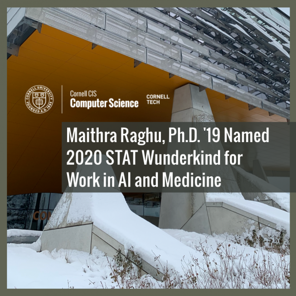 Maithra Raghu, Ph.D. '19 Named 2020 STAT Wunderkind for Work in AI and Medicine