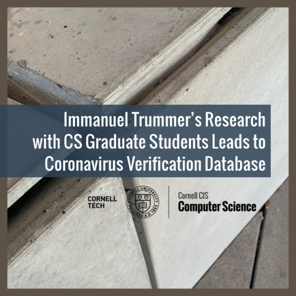 Immanuel Trummer's Research with CS Graduate Students Leads to Coronavirus Verification Database