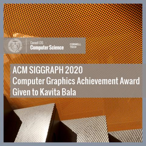 ACM SIGGRAPH 2020  Computer Graphics Achievement Award Given to Kavita Bala
