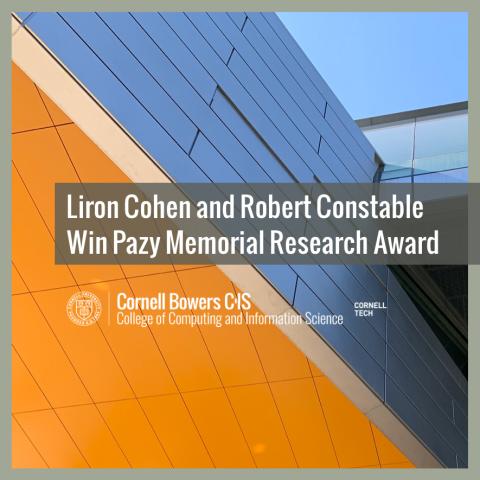 Liron Cohen and Robert Constable Win Pazy Memorial Research Award